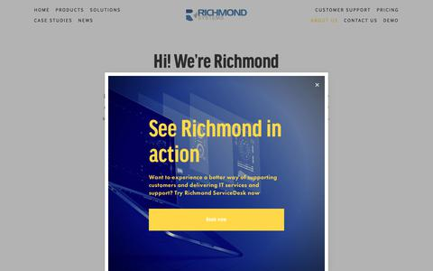 Screenshot of About Page richmondsys.com - About us — Richmond Systems | Service desk and customer service software - captured Nov. 16, 2018