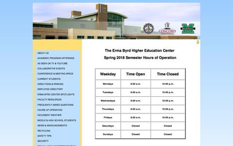 Screenshot of Hours Page concord.edu - Hours of Operation | Erma Byrd Higher Education Center - captured Feb. 21, 2018