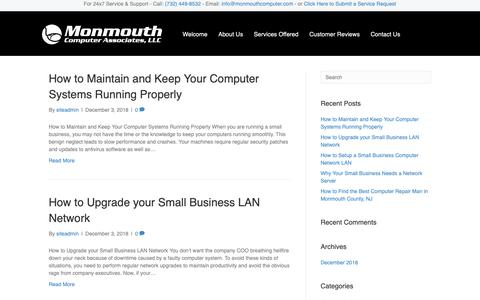 Screenshot of Blog monmouthcomputer.com - Blog | NJ Computer Repair | Business IT Support and Solutions | Technology Support | Monmouth Computer Associates - captured Dec. 10, 2018
