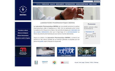 Screenshot of Home Page FAQ Page Site Map Page iberma.com - LABORATOIRE PHARMACEUTIQUE IBERMA - captured July 20, 2016