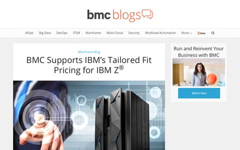 Screenshot of Pricing Page bmc.com - BMC Supports IBM's Tailored Fit Pricing for IBM Z® – BMC Blogs - captured Dec. 14, 2019