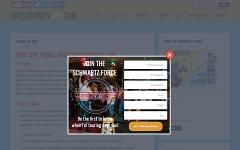 Screenshot of Terms Page ericschwartzlive.com - Terms of Use : Eric Schwartz aka Smooth-E - Surrender to the Blender - captured Oct. 18, 2018