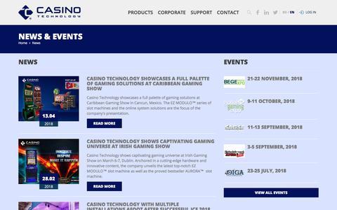 Screenshot of Press Page casino-technology.com - Casino Technology - captured May 29, 2018