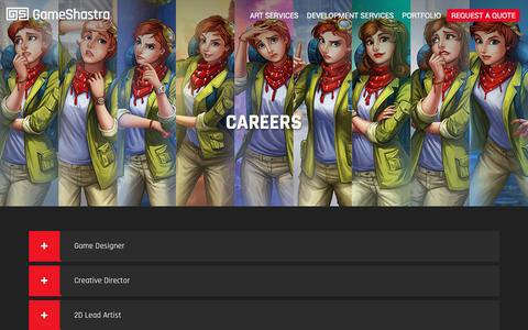 Screenshot of Jobs Page gameshastra.com - Gameshastra | Art and Game Development Services - Careers - captured May 15, 2017