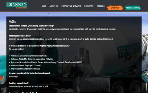 Screenshot of FAQ Page brannan1.com - FAQ's | Brannan Sand and Gravel | Denver Paving Ready Mix and Pipeline - captured Oct. 6, 2018