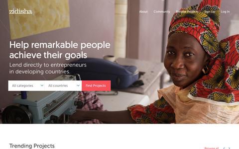 Screenshot of Home Page zidisha.org - Zidisha |     P2P microlending - captured Sept. 19, 2018