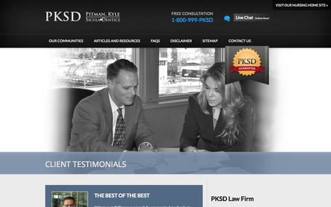 Screenshot of Testimonials Page pkslawfirm.com - Personal Injury Client Testimonials | Pitman, Kyle, Sicula & Dentice S.C. - captured Oct. 2, 2014