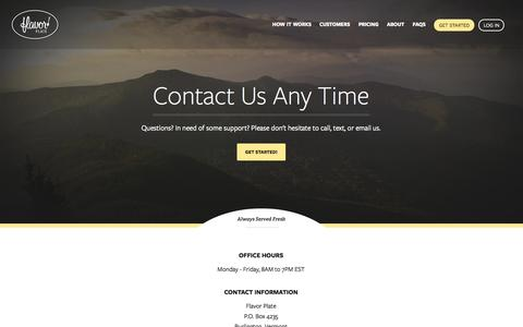 Screenshot of Contact Page flavorplate.com - Flavor Plate™ | Please Contact Us Today - captured Sept. 30, 2014