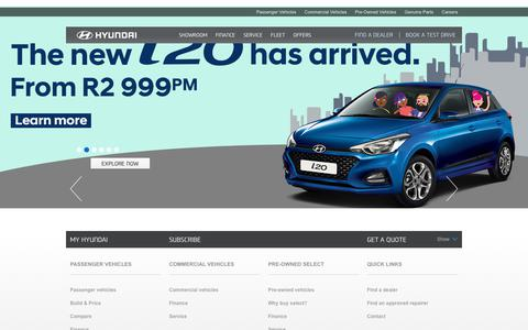 Screenshot of Home Page hyundai.co.za - View Our Range of Passenger Vehicles - Best Quality & Performance - captured Aug. 29, 2018