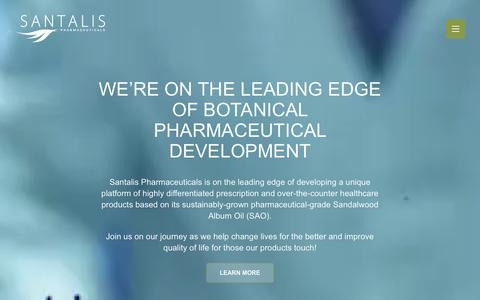 Screenshot of Home Page santalispharma.com - Santalis Pharmaceuticals - captured Oct. 5, 2017