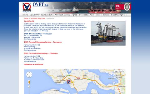 Screenshot of Locations Page ovet.nl - Home > Activities & services > Locations - Ovet - Dry Bulk Terminal EN - captured Oct. 7, 2014