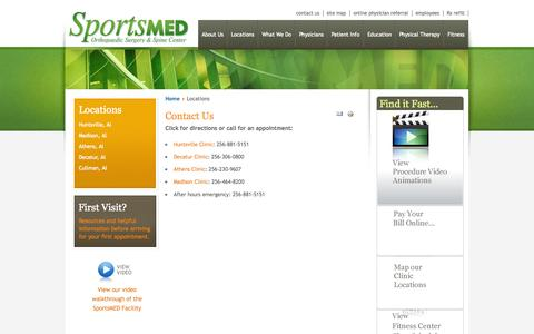 Screenshot of Contact Page Locations Page sportsmedalabama.com - Contact Us, Huntsville AL - SportsMed - captured Oct. 26, 2014