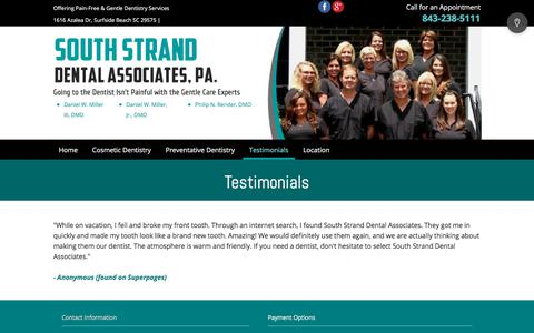Screenshot of Testimonials Page southstranddental.com - Testimonials - Surfside Beach, SC - South Strand Dental Associates PA - captured July 2, 2018