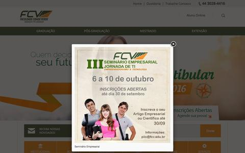 Screenshot of Home Page fcv.edu.br - Faculdade Cidade Verde - captured Sept. 20, 2015