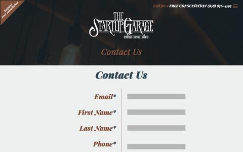 Screenshot of Contact Page thestartupgarage.com - Contact Us | Business Consulting Team | The Startup Garage - captured July 19, 2017