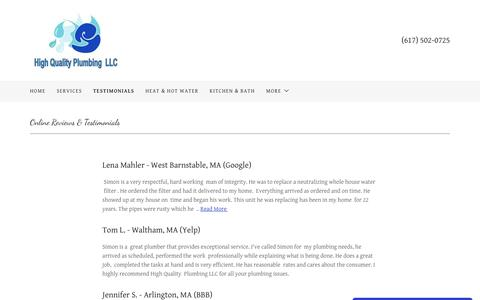 Screenshot of Testimonials Page highqualityplumber.com - Testimonials   High Quality Plumbing LLC - captured Sept. 28, 2018