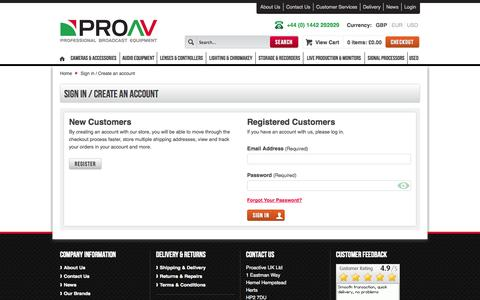 Screenshot of Login Page proav.co.uk - Customer Login - captured Sept. 24, 2014