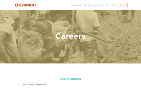 Screenshot of Jobs Page bloodwater.org - Careers — Blood:Water - captured Oct. 6, 2018