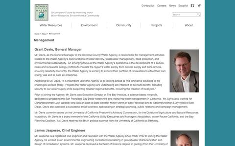 Screenshot of Team Page ca.gov - Management | Sonoma County Water Agency - captured Sept. 13, 2014
