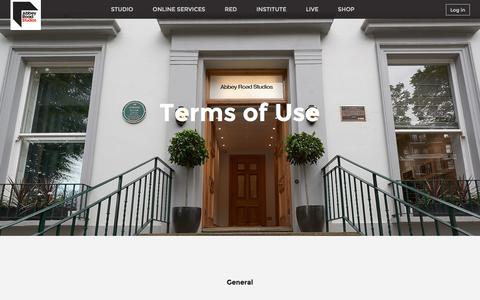 Screenshot of Terms Page abbeyroad.com - Abbey Road - Terms of Use - captured April 3, 2016