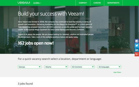 Screenshot of Jobs Page veeam.com - Career at Veeam Software - captured Jan. 24, 2018