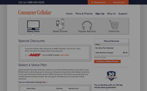 Screenshot of Signup Page consumercellular.com - Select Plan - captured Oct. 10, 2014