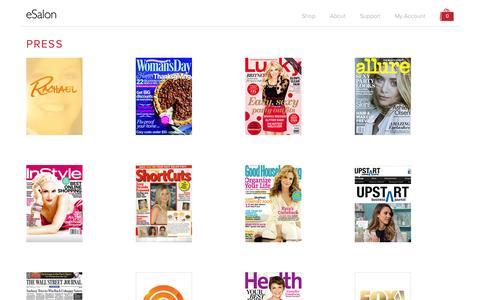 Screenshot of Press Page esalon.com - eSalon.com | Custom Formulated Hair Color - captured Sept. 23, 2014