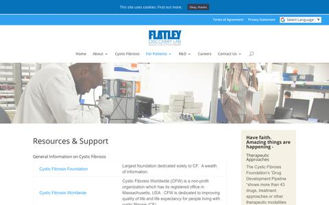Screenshot of Support Page flatleydiscoverylab.com - Flatley Discovery Lab | Resources & Support - captured Oct. 14, 2017