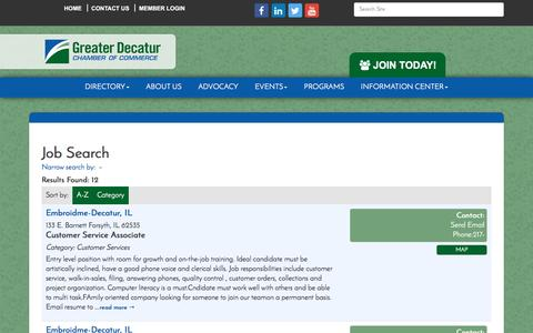Screenshot of Jobs Page decaturchamber.com - Job Search - Greater Decatur Chamber of Commerce, IL - captured Nov. 13, 2016