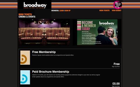 Screenshot of Signup Page broadway.org.uk - Broadway - Cinema | Cafebar | Nottingham - Book Tickets - captured Nov. 23, 2016
