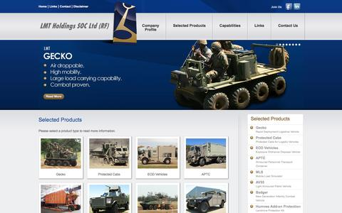 Screenshot of Products Page lmt.co.za - LMT | Products - Gecko, Protected Cabs, EOD Vehicles, APTC, MLS, AV55, Badger - captured Jan. 23, 2016