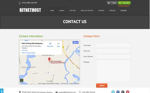 Screenshot of Contact Page bitnethost.com - Contact Us - BITNETHOST | Cheap Web Hosting and Cheap Reseller Hosting | VPS and Dedicated Server - captured Sept. 30, 2014