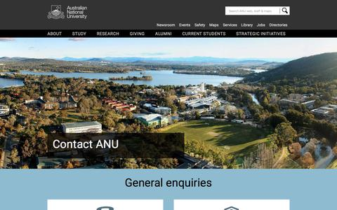 Screenshot of Contact Page anu.edu.au - Contact ANU - ANU - captured Sept. 21, 2018