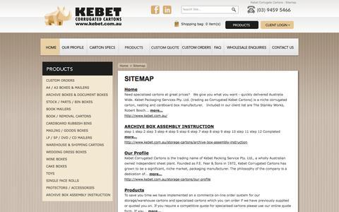 Screenshot of Site Map Page kebet.com.au - Kebet Corrugate Cartons - Sitemap - captured Oct. 6, 2014