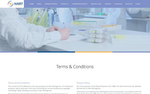Screenshot of Terms Page hartbio.co.uk - Terms & Conditions — Hart Biologicals - captured Oct. 28, 2016