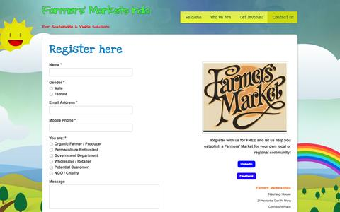 Screenshot of Contact Page webs.com - Farmers' Markets in India - Contact Us - captured Sept. 13, 2014