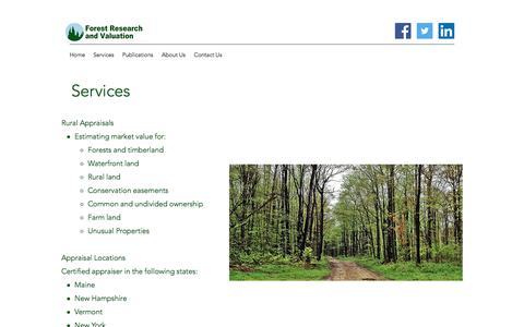 Screenshot of Services Page frvllc.com - Services | Forest Research and Valuation - captured Aug. 19, 2018