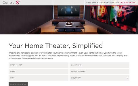 Screenshot of Landing Page control4.com - Home Theater   Control4 - captured Oct. 21, 2015