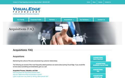 Screenshot of FAQ Page visualedgetechnology.com - Acquisitions FAQ - Visual Edge Technology - captured Oct. 19, 2018