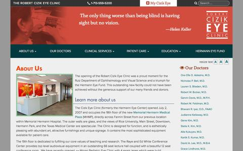 Screenshot of About Page cizikeye.org - The Robert Cizik Eye ClinicAbout Us | The Robert Cizik Eye Clinic - captured Oct. 6, 2014