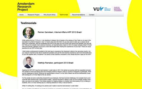 Screenshot of Testimonials Page arp-vu.nl - Testimonials | Aureus - captured Oct. 4, 2014