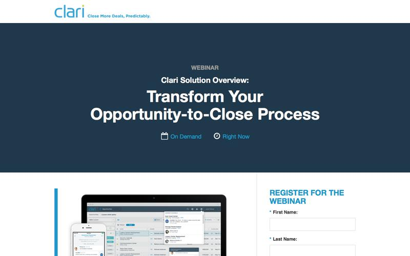 Webinar on Demand: Clari Solution Overview - Transform Your Opportunity-to-Close Process