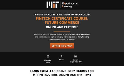 Screenshot of Landing Page mit.edu - Fintech Certificate Course: Future Commerce | MIT - captured Aug. 26, 2016