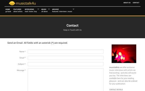 Screenshot of Contact Page musictalk4u.com - musictalk4u - get in touch with musictalk4u - captured Jan. 11, 2016