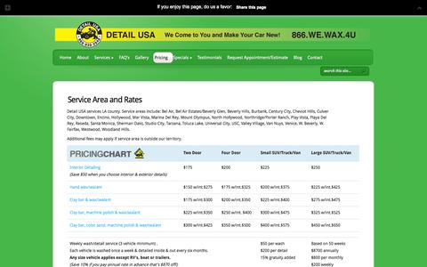 Screenshot of Pricing Page detailusa.net - Service Areas and Rates | Detail USA | Detail USA - captured Sept. 30, 2014