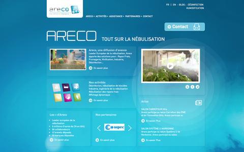 Screenshot of Home Page areco.fr - ARECO, Technologie de nébulisation : Nébuliser, Protéger et Valoriser - captured Sept. 30, 2014