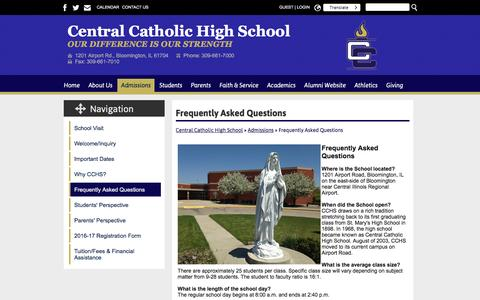 Screenshot of FAQ Page blmcchs.org - Frequently Asked Questions - Central Catholic High School - captured June 4, 2016