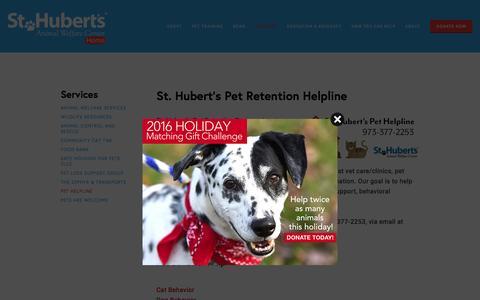 Screenshot of Contact Page sthuberts.org - Pet Helpline — St. Hubert's Animal Welfare Center - captured Dec. 1, 2016