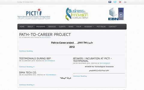 Screenshot of Testimonials Page picti.ps - Testimonials - captured Oct. 5, 2014