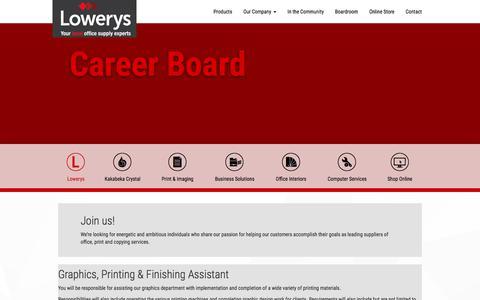 Screenshot of Jobs Page lowerys.com - Lowerys - Career Board - captured Feb. 19, 2018